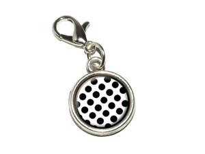 Polka Dots Black White Antiqued Bracelet Pendant Zipper Pull Charm with Lobster Clasp