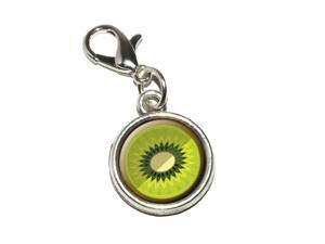 Kiwi Fruit Antiqued Bracelet Pendant Zipper Pull Charm with Lobster Clasp
