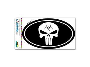 Death Skull Zombie Biohazard Symbol - Euro Oval MAG-NEATO'S™ Automotive Car Refrigerator Locker Vinyl Magnet