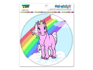 Unicorn Pony - Rainbow Pink Circle MAG-NEATO'S™ Automotive Car Refrigerator Locker Vinyl Magnet