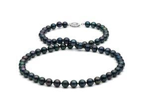 "18"" Black Akoya Pearl Necklace: 6.0-6.5mm AA+"