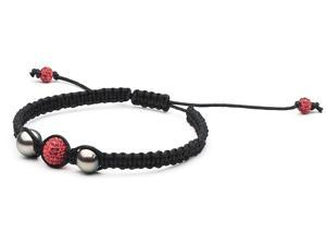 Macrame Pearl and Swarovski Bracelet: Red