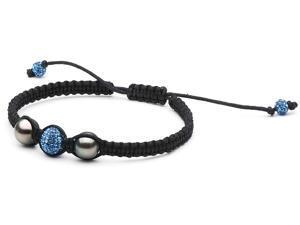 Macrame Pearl and Swarovski Bracelet: Blue