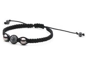 Macrame Pearl and Swarovski Bracelet: Black