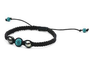 Macrame Pearl and Swarovski Bracelet: Turquoise