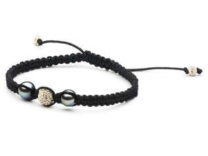 Macrame Pearl and Swarovski Bracelet: Champagne