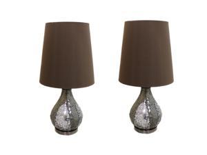"""Casa Cortes Mosaic Glass Mirror 26"""" Table Lamps (Set of 2) - Silver & Brown"""