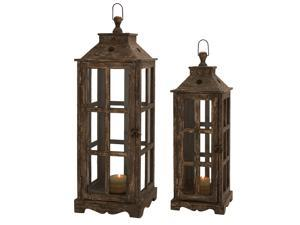 Urban Designs Weathered Wood 2-Piece Square Lantern Candle Holder Set