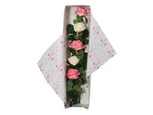 Special Occasion Silk Pink & White Rose Flower Bouquet With Gift Box