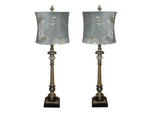 Urban Designs Handcrafted Table Lamp with Blue Golden Vines Shade - Set of 2