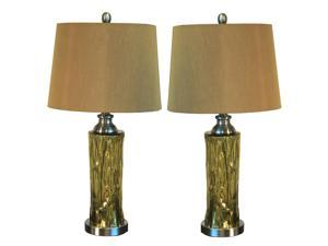 "Urban Designs Liquid Gold 26"" Glass Table Lamp with Shade - Set of 2"