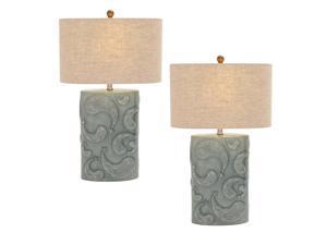 Urban Designs Seafoam Paisley Pattern 28-inch Ceramic Table Lamp - Set of 2