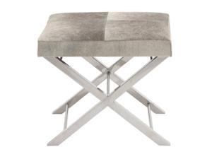 Urban Designs Modern Steel and Cowhide Leather Counter Stool - Grey Cushion