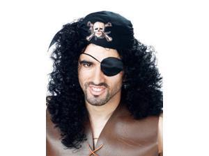PMG Mens Curly Black Pirate Wig With Attached Skull Hat