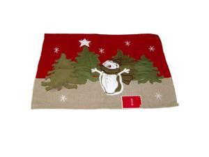 Holiday Snowman Applique Throw Accent Rug Cotton Bath Area Mat