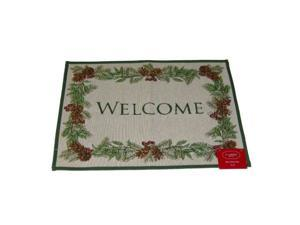 St Nicholas Square Woven Tapestry Throw Rug No Skid Pine Bough Welcome Mat 19x27