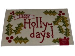St Nicholas Square Happy Holly Days Accent Throw Rug No Skid Christmas Mat 20x30