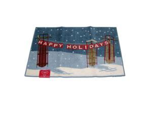 St Nicholas Square Sledding Accent Throw Rug Non Skid Happy Holidays Mat 23x36