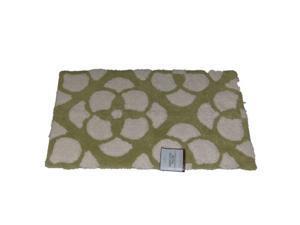 Home Classics Green White Reverse Floral Plush Cotton Throw Rug 20x32  Bath Mat