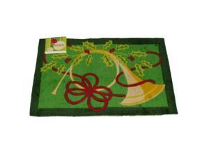 Holiday Door Mat Green French Horn Plush Throw Accent Rug