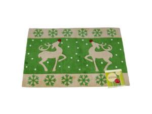 Holiday Door Mat Red Nosed Reindeer Plush Throw Accent Rug