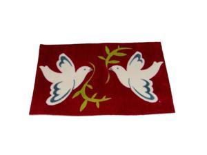 Holiday Door Mat Rich Red Peace Doves Throw Accent Rug