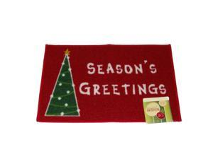 Holiday Door Mat Red Seasons Greetings Throw Accent Rug