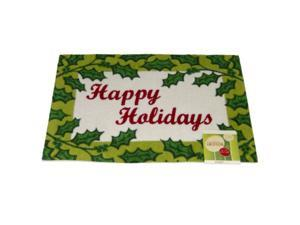Happy Holidays Door Mat Green Holly Border Throw Accent Rug
