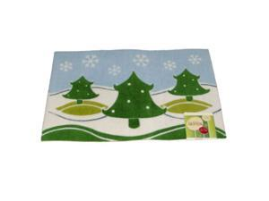 Holiday Door Mat Snowy Hills & Trees Plush Throw Accent Rug