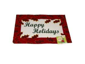 Happy Holidays Door Mat Red Holly Border Throw Accent Rug