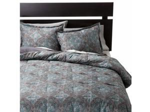 Threshold Blue Medallion Full Queen Bed Comforter Set 3 Piece