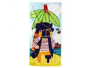 Jumping Beans Pirate Pug Dog Plush Cotton Velour Beach Towel 30x60