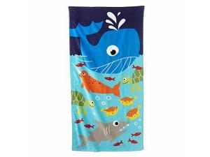 Jumping Beans Big Blue Whale Sea Life Plush Cotton Velour Beach Towel 30x60