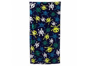 Jumping Beans Blue & Green Skulls Plush Cotton Velour Beach Towel 30x60
