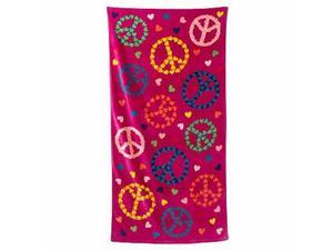 Jumping Beans Hearts & Peace Signs Plush Cotton Velour Beach Towel 30x60