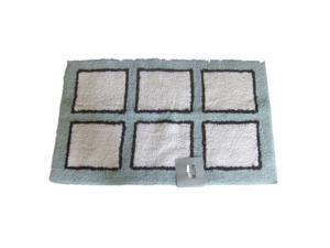 Apt 9 Blue Brown & White Block Plush Throw Rug 23x38 Reversible Cotton Bath Mat