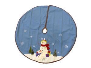 Trimmery Blue Felt Snowman Family Christmas Tree Skirt Xmas Holiday