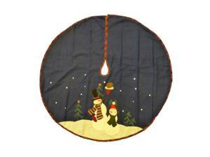 Trimmery Dark Blue Felt Snowman Family Christmas Tree Skirt Xmas Holiday