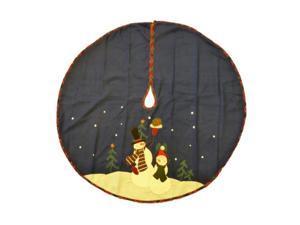 Trimmery Dark Blue Felt Snowman Family Christmas Tree Skirt Xmas Holiday