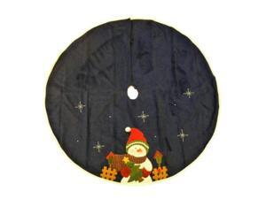 Trimmery Blue Felt Snowman & Birdhouse Christmas Tree Skirt Xmas Holiday