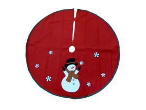 Trimmery Red Felt Snowman Family Christmas Tree Skirt Xmas Holiday