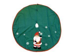 Trimmery Green Felt Santa Claus Christmas Tree Skirt Xmas Holiday