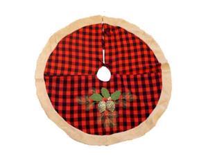 Trimmery Red  Tartan Plaid Christmas Tree Skirt Glitter Pinecone Xmas Holiday
