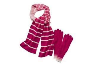 Merona Womens Pink & White Stripe Angora Blend Scarf & Gloves