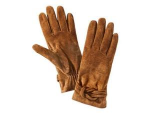 Merona Womens Brown Suede Knotted Leather Gloves