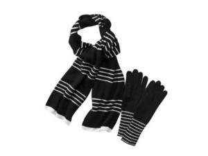 Merona Womens Black & White Stripe Angora Blend Scarf & Gloves