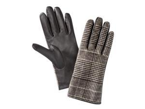 Merona Womens Brown Plaid Houndstooth Leather Gloves