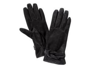 Merona Womens Black Suede Knotted Leather Gloves