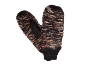 Mudd Womens Soft Black & Brown Knit Mittens with Fleece Lining