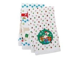 St Nicholas Square Kitchen Towel Set Christmas Puppy Dogs 2 Towels